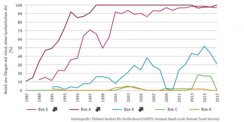 Sechs Kurven zeigen den prozentualen Anteil von Fängen mit mindestens einer lusitanischen Fischart für verschiedene Boxen in einer Zeitreihe von 1987 bis 2013.