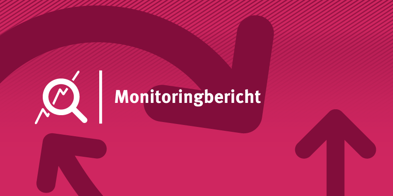 Schriftzug Monitoringbericht mit Lupe und Pfeilen