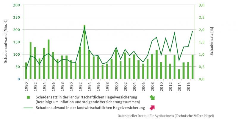 Das Balkendiagramm bildet den Schadensatz in Prozent in der landwirtschaftlichen Hagelversicherung ab. Die Zeitreihe ist bereinigt um Inflation und steigende Versicherungssummen.