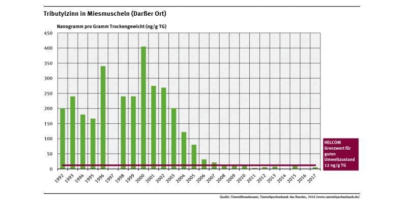 Miesmuscheln vom Darßer Ort enthielten im Jahr 2000 die höchsten Tributylzinngehalte seit 1992. Seitdem ist die Belastung um mehr als 95 Prozent zurückgegangen und liegt jetzt unterhalb des Grenzwertes von 12 Nanogramm pro Gramm Trockengewicht.
