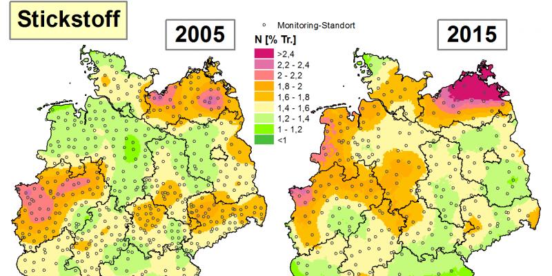 Die Grafik zeigt die Höhe der Bioakkumulation von Stickstoff in den Jahren 2005 und 2015/16 in Deutschland.