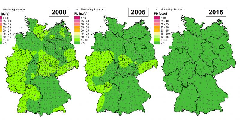 Die Grafik zeigt die Höhe der Bioakkumulation von Blei und Entwicklung dieser Konzentration von 1990 bis 2015/16 in Deutschland.