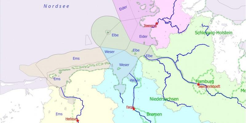 Die vier deutschen Hauptflüsse mit den Messstationen in den jeweiligen Flusseinzugs-gebieten unterliegen einem Programm, das regelmäßig Überwachungsdaten an OSPAR liefert.