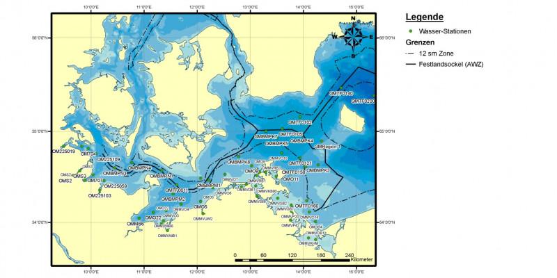 Bund und Länder überwachten in den Jahren 2006 bis 2008 gemeinsam die Schadstoffbelastung des Ostseewassers an zahlreichen Messstellen im deutschen Teil der Ostsee – sowohl innerhalb als auch außerhalb der 12-Seemeilen-Zone.