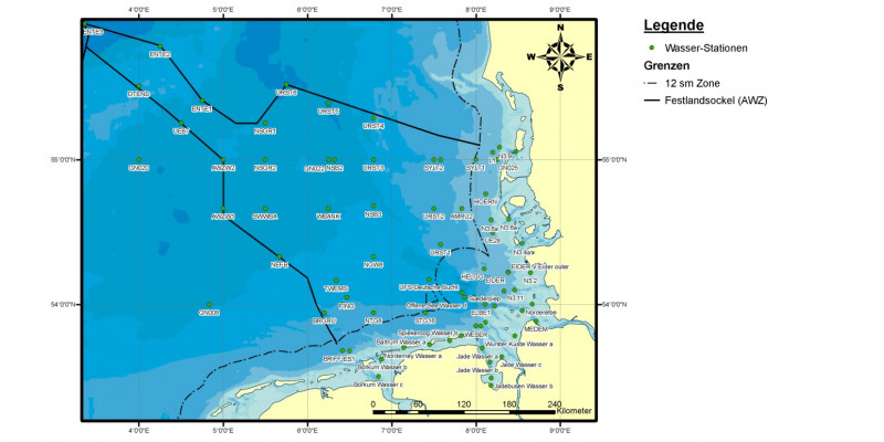 In der Nordsee wird im Rahmen des BUND/Länder-Messprogramms innerhalb der 12-Seemeilenzone und in der Ausschließlichen Wirtschaftszone gemessen, wie das Wasser der Nordsee mit Schadstoffen belastet ist.
