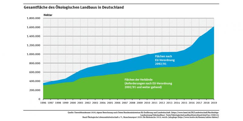 In der Abbildung ist erkennbar, dass die Fläche des Ökolandbaus und die Gesamtfläche der in Anbauverbänden organisierten Landwirte in den letzten 20 Jahren deutlich angestiegen sind.