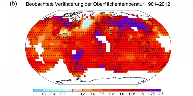 Karte der beobachteten Temperaturveränderung von 1901 bis 2012, abgeleitet von Temperaturtrends, die durch lineare Regression aus einem Datensatz ermittelt wurden.
