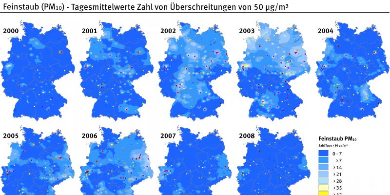 Die Abbildung stellt anhand von mehreren Deutschlandkarten die Zahl der Überschreitungen des PM10-Tagesmittelwerts von 50 µg/m³ von 2000 bis 2008 dar. Die Klassen, die die Zahl der Überschreitungstage angeben, sind in verschiedenen Farben dargestellt.