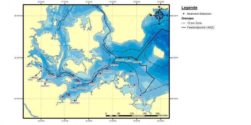 Bund und Länder überwachten in den Jahren 2006 bis 2008 gemeinsam die Schadstoffbelastung des Ostseesediments  an zahlreichen Messstellen im deutschen Teil der Ostsee – sowohl innerhalb als auch außerhalb der 12-Seemeilen-Zone.