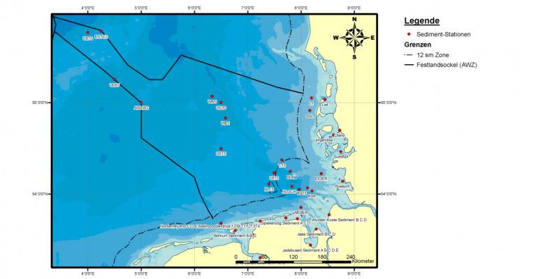 In der Nordsee wird im Rahmen des BUND/Länder-Messprogramms innerhalb der 12-Seemeilenzone und in der Ausschließlichen Wirtschaftszone gemessen, wie Sedimente der Nordsee mit Schadstoffen belastet sind.
