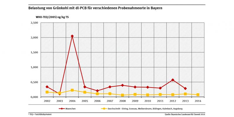 Belastungen der Grünkohlproben mit dl-PCB waren in einer Großstadt wie München erwartungsgemäß in fast allen Jahren höher als der Durchschnitt der Belastungen in kleineren Städten und Orten in Bayern.