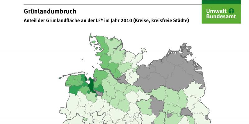 Die Karte zeigt den prozentualen Anteil der Grünlandfläche an der landwirtschaftlich genutzten Fläche im Jahr 2010 auf Landkreisebene. Die höchsten Grünlandanteile gibt es im Allgäu, im Bayerischen Wald, im Sauerland und in Ostfriesland.