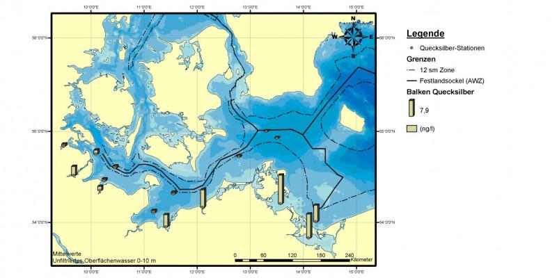 Die Quecksilbergehalte im Wasser der deutschen Ostsee waren in den Jahren 2006 bis 2008 im Greifswalder Bodden, dem Kleinen Haff und bei Warnemünde höher als in der Lübecker Bucht und in der Flensburger und Kieler Förde.
