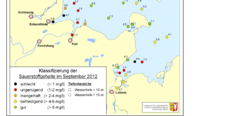 Ein Liter Wasser der offenen westlichen Ostsee enthielt im September 2012 mehr als sechs, in Küstennähe und Flussmündungen weniger als zwei Milligramm Sauerstoff. Der Sauerstoffgehalt wurde einmal als gut, einmal als schlecht oder ungenügend bewertet.