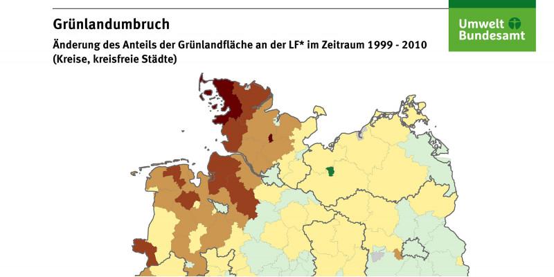 Die Karte zeigt die Änderung des Anteils der Grünlandfläche an der landwirtschaftlichen Fläche im Zeitraum 1999-2010 auf Landkreisebene in Prozentpunkten. Die größten Grünlandverluste traten im Nordwesten Deutschlands auf.
