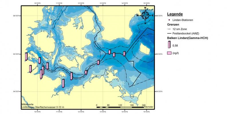 Die höchsten Lindangehalte im Wasser der deutschen Ostsee wurden in den Jahren 2006 bis 2008 in und vor der Kieler Förde, der Flensburger Förde sowie in und vor der Lübecker  Bucht gemessen.