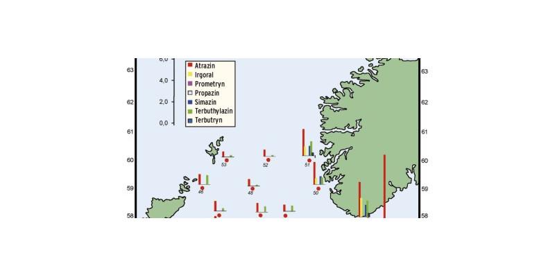 Die räumliche Verteilung der wichtigsten Pestizide aus der Stoffklasse der Triazine und der Phenylharnstoffe zeigt für alle Verbindungen einen deutlichen von der Küste in die offene See abnehmenden Gradienten.