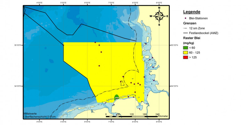 In einem Kilogramm Sediment (Trockengewicht) der Nordsee wurden in den Jahren 2006 bis 2008 zwischen 60 und 125 Milligramm Blei gemessen. Zum Vergleich: Die natürliche Konzentration von Blei liegt bei 25 Milligramm pro Kilogramm Sediment (Trockengewicht)