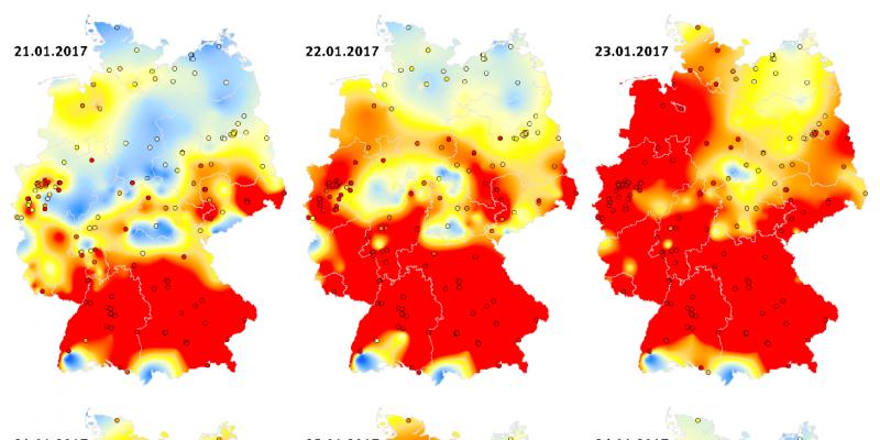 Die Abbildung stellt anhand von 12 Deutschlandkarten die Tagesmittelwerte der Partikelkonzentration von PM10 im Verlauf der Episode vom 18. Januar bis zum 26. Januar 2017 dar. Die Höhe der Konzentration ist in verschiedenen Farben dargestellt.