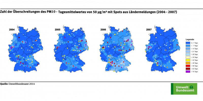Die Karte zeigt die Anzahl der Überschreitungstage des PM10-Tagesmittelwerts von 50 µg/m³ an ausgewählten Messstellen für die Jahre 2004 bis 2007. Die Klassen, die die Zahl der Überschreitungstage angeben, sind in verschiedenen Farben dargestellt.