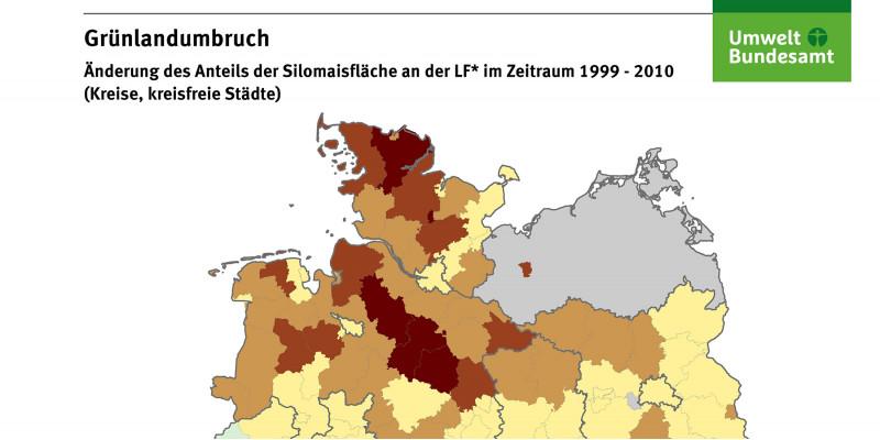 Die Karte zeigt die Änderung des Anteils der Silomaisfläche an der landwirtschaftlich genutzten Fläche im Zeitraum 1999-2010 auf Landkreisebene. Die größten Zuwächse der Maisanbaufläche traten im nordöstlichen Teil Deutschlands auf.