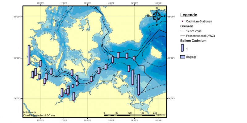 Die höchsten Cadmiumgehalte im Sediment der deutschen Ostsee wurden in den Jahren 2006 bis 2008 vor allem in der Flensburger Förde und der Pommerschen Bucht gefunden.