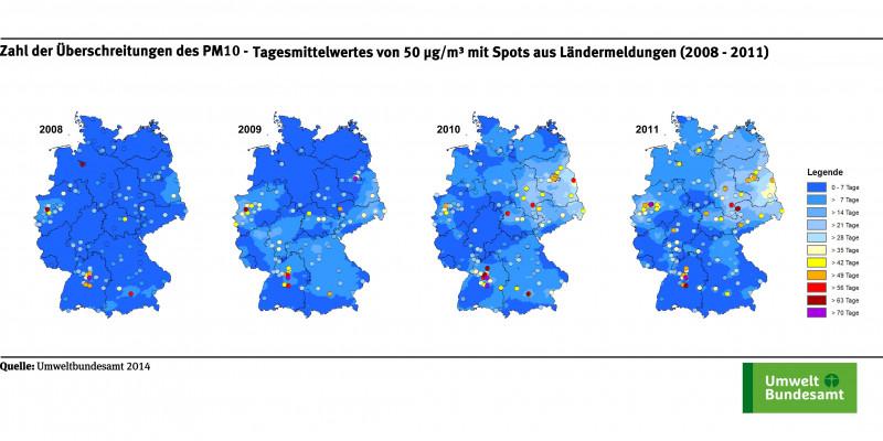 Die Karte zeigt die Anzahl der Überschreitungstage des PM10-Tagesmittelwerts von 50 µg/m³ an ausgewählten Messstellen für die Jahre 2008 bis 2011. Die Klassen, die die Zahl der Überschreitungstage angeben, sind in verschiedenen Farben dargestellt.