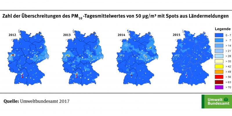 Die Karte zeigt die Anzahl der Überschreitungstage des PM10-Tagesmittelwerts von 50 µg/m³ an ausgewählten Messstellen für die Jahre 2012 bis 2015. Die Klassen, die die Zahl der Überschreitungstage angeben, sind in verschiedenen Farben dargestellt.