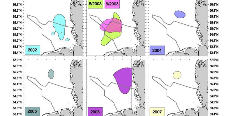 Seit 1981 traten fast in jedem Jahr Sauerstoffmangelgebiete unterschiedlicher Ausdehnung in der Deutschen Bucht auf. Die Lage der Gebiete ist variabel.
