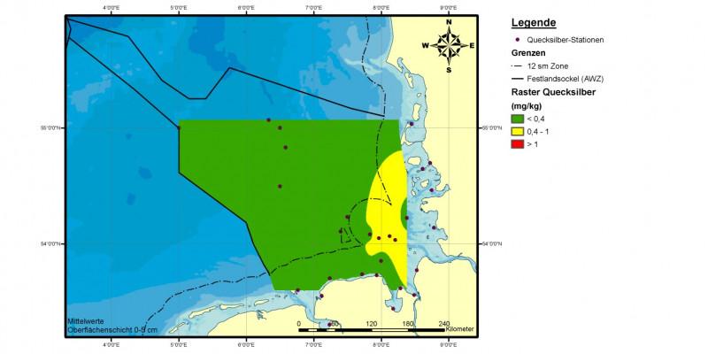Vor allem in der Elbe-Abflussfahne waren die Quecksilbergehalte mit mehr als 0,4 Milligramm pro Kilogramm Sediment (Trockengewicht) erhöht. Die natürliche Konzentration von Quecksilber liegt hingegen bei 0,05 Milligramm pro Kilo Sediment (Trockengewicht).