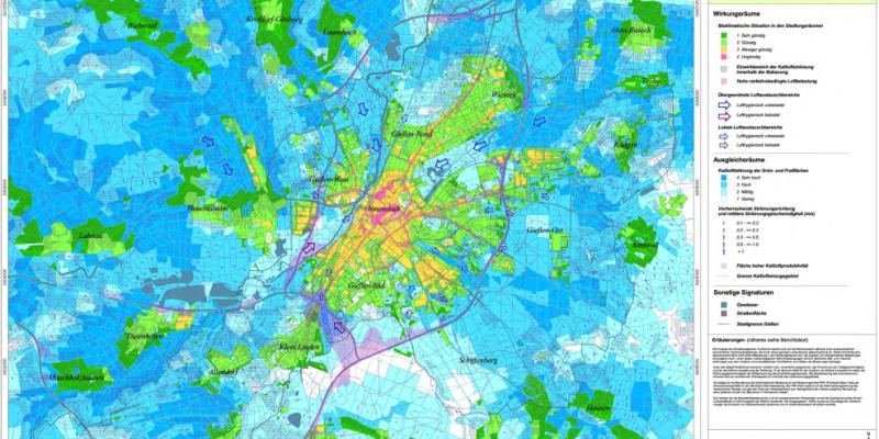 Karte der klima- und imissionsökologischen Funktionen für die Stadt Gießen. Siehe: https://parlamentsinfo.giessen.de/vo0050.php?__kvonr=14589
