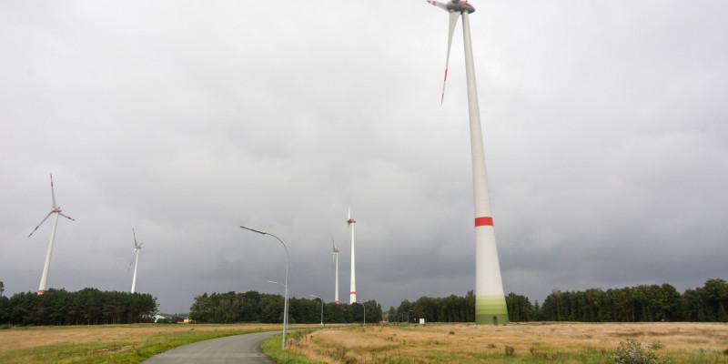 Windräder an einem Feldweg unter bewölktem Himmel