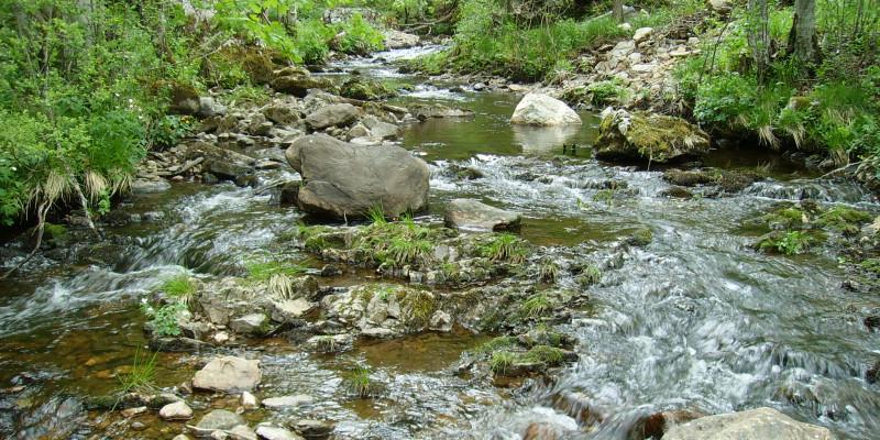 Breiter Bach fließt nach unten, zwischen Geröll und anderen Steinen.