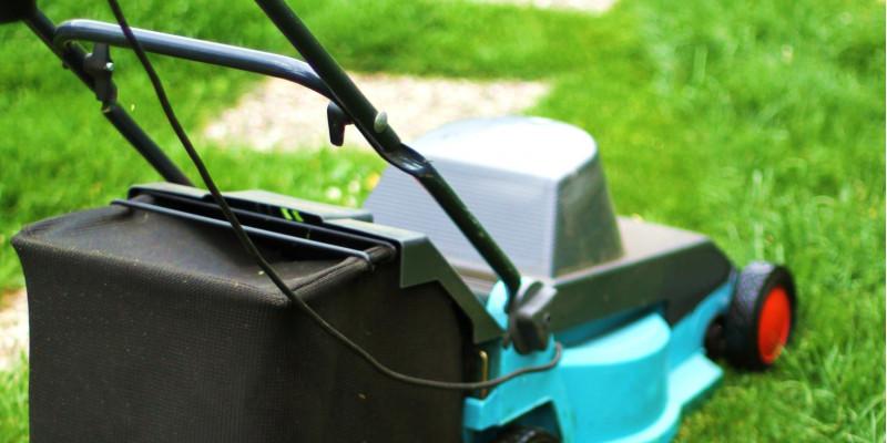 Ein elektrischer Rasenmäher, der auf einer grünen Wiese steht
