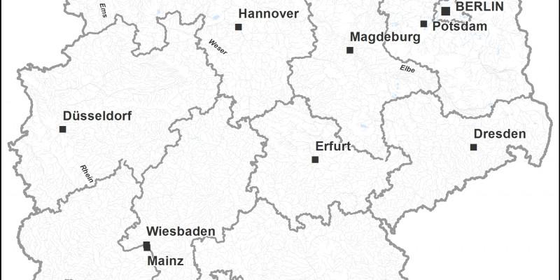 Grafische Deutschlandkarte auf der die Flüsse in Alpennähe Blau markiert sind.