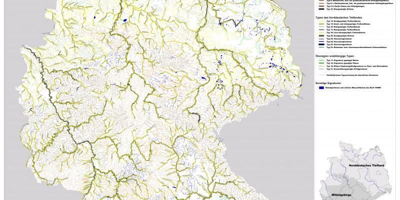 Karte der biozönotisch bedeutsamen Fließgewässertypen Deutschlands