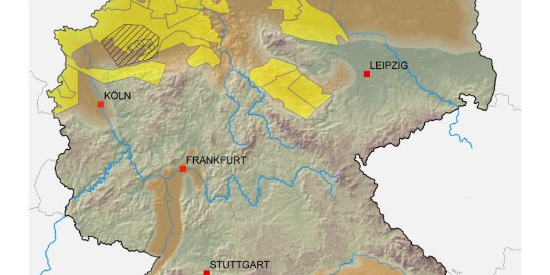Die Karte zeigt die Regionen in denen sich Schiefergras bilden kann