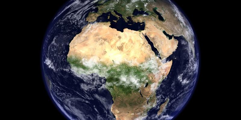 Die Weltkugel aus dem Weltraum gesehen.