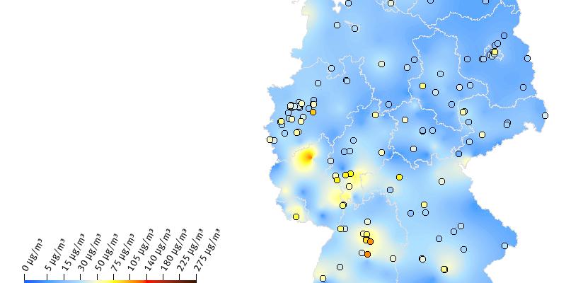 PM10-Tagesmittelwerte für den 1.1.2019