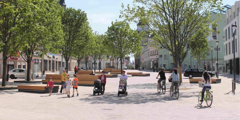 Ein mit Bäumen bepflanzter Platz in Schönbeck.