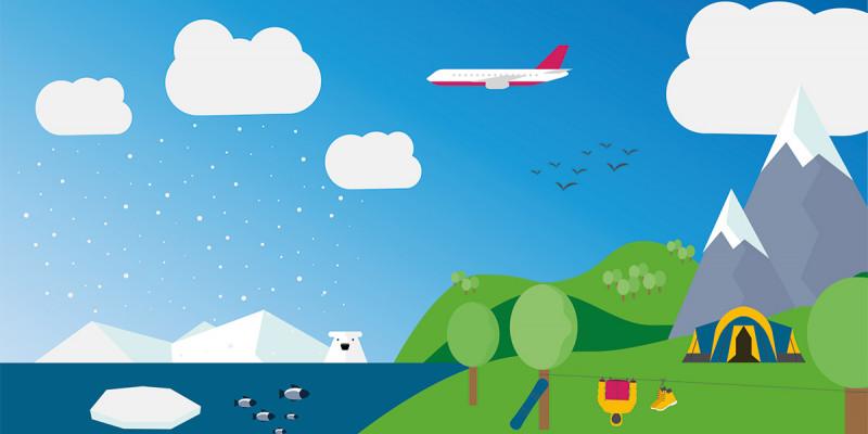 Ein blauer Himmel mit Flugzeug, Berge, ein Zelt, Wasser und ein Eisbär.