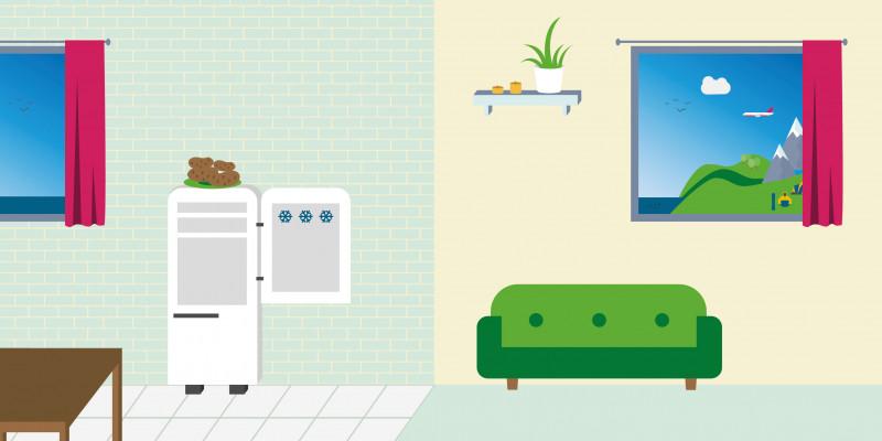 Eine Wohnung grafisch dargestellt mit Kühlschrank, Sofa und anderen Möbeln.