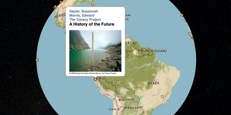 Screenshot der Website, Ansicht Erde mit markierten Standorten