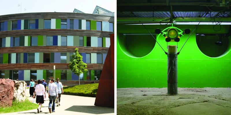Zwei Bilder zeigen das UBA-Dienstgebäude in Dessau und ein Filmstill aus der Fließgewässersimulationsanlage