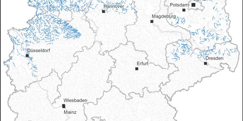 Deutschlandkarte mit den Vorkommen