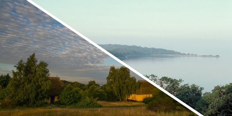 Zwei Fotos in einer Collage: Küste von Vilm und kleines Landstück mit Häusern