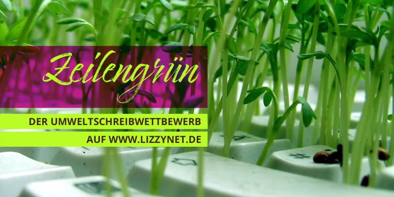 Titeltext Zeilengrün; kleine Pflanzen wachsen zwischen den Tasten einer Tastatur