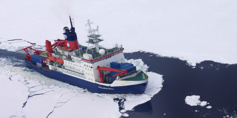 The Polarstern ship is a research vessel designed as an icebreaker.