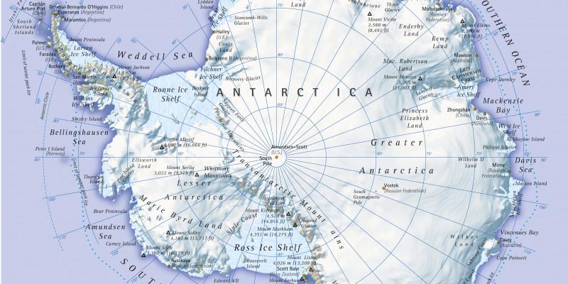 Abgebildet ist eine Karte der Antarktis.