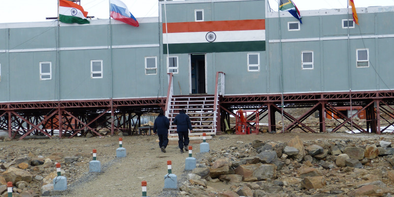 India's Maitri research station, located in the hilly landscape of the Schirmacher Oasis.